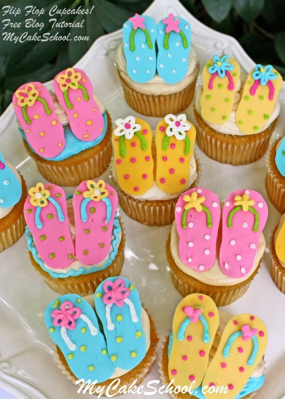These CUTE Flip Flop Cupcakes are made with candy coating! Free tutorial!!! MyCakeSchool.com Online Cake Tutorials & Recipes!