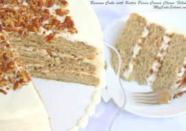 Amazing Scratch Banana Cake with Butter Pecan Cream Cheese Filling! Recipe by My Cake School.