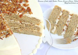 Banana Cake with Butter Pecan Cream Cheese Filling- Recipe by MyCakeSchool.com