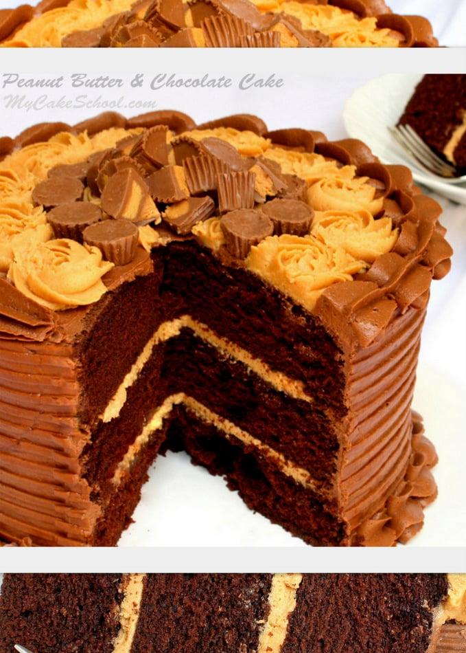 Peanut Butter & Chocolate Cake Recipe!  MyCakeSchool.com