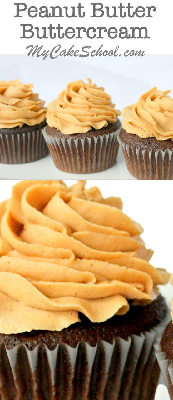 Delicious Peanut Butter Buttercream Frosting Recipe from scratch! MyCakeSchool.com.