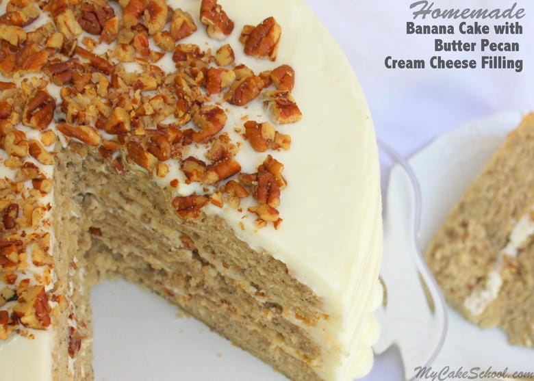 Delicious Banana Cake with Butter Pecan Cream Cheese Filling! Recipe by MyCakeSchool.com. Online cake tutorials, recipes, videos, and more!