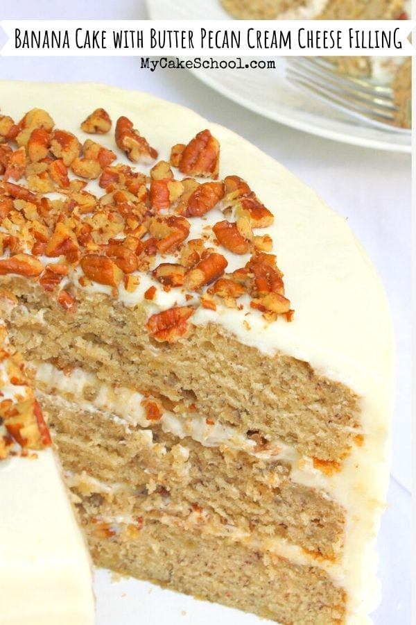 Moist and Delicious Banana Cake from Scratch with Butter Pecan Cream Cheese Filling