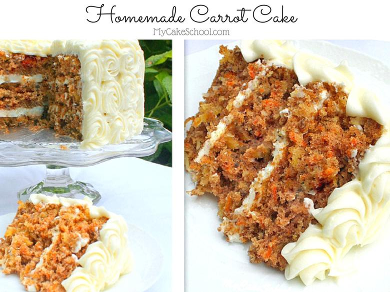 Homemade Carrot Cake Recipe by MyCakeSchool.com! So moist and delicious with carrots, pineapple, nuts, coconut, and spices! YUM!