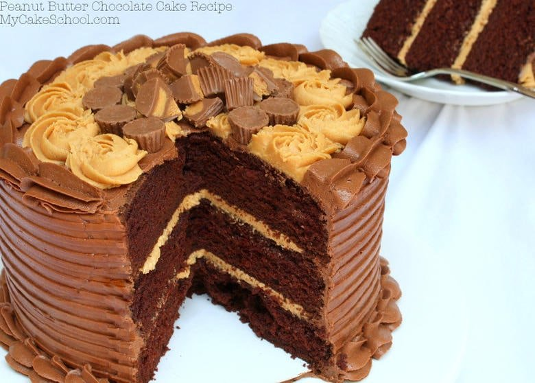 Moist and delicious Peanut Butter and Chocolate Cake Recipe from scratch! Recipe by MyCakeSchool.com. Online cake tutorials, cake recipes, videos, and more!