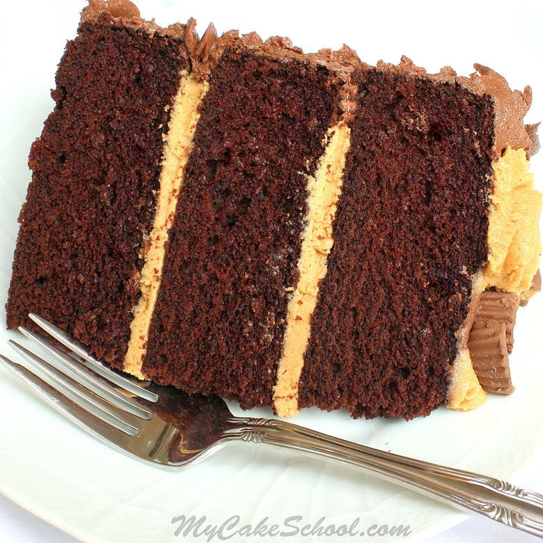 Delicious Peanut Butter and Chocolate Cake Recipe by MyCakeSchool.com! This is cake is always a crowd pleaser! MyCakeSchool.com cake recipes, cake tutorials, and more!