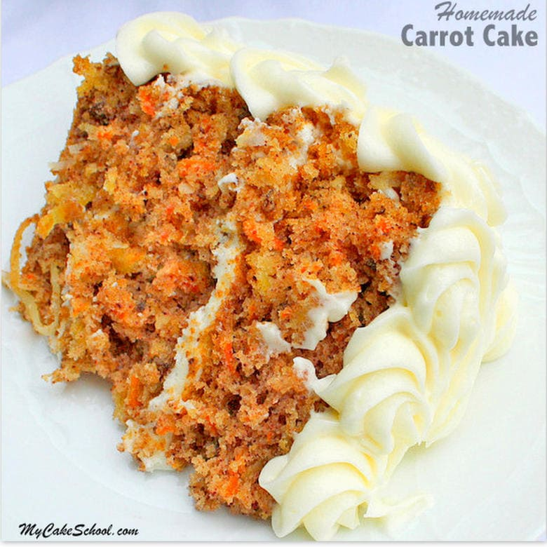The BEST Carrot Cake from Scratch Recipe. MyCakeSchool.com Online Cake Tutorials, Recipes, Videos, and More!