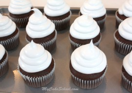 This Fluffy White Frosting is PERFECT for hi hat cupcakes! Light, airy, and sweet without being overpowering. A wonderful twist on 7 minute frosting! MyCakeSchool.com