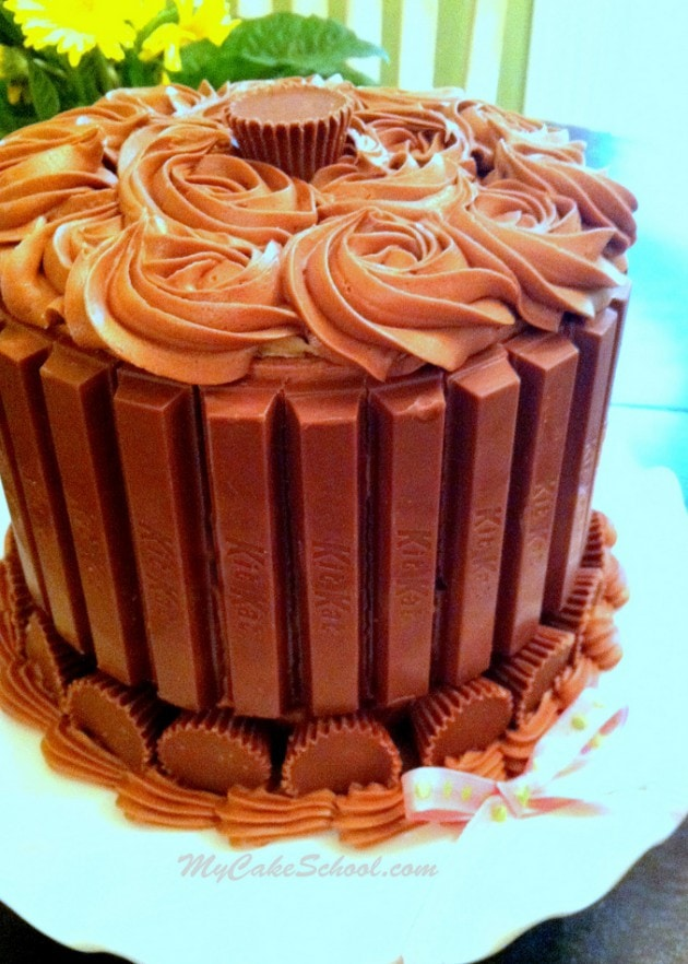 Kit Kat and Reese's Cup Cake by MyCakeSchool.com. Free Blog Tutorial and the easiest way to decorate a chocolate cake!
