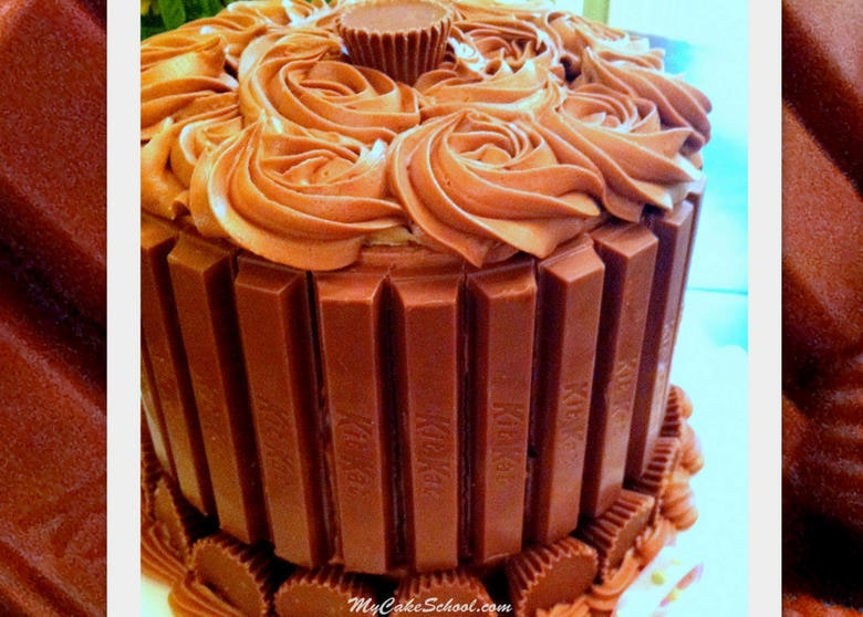 Kit Kat and Reese's Cup Chocolate Cake Tutorial by MyCakeSchool.com!