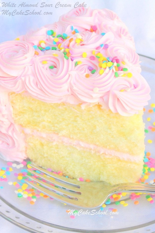 Delicious Scratch White Almond Sour Cream Cake Recipe by MyCakeSchool.com