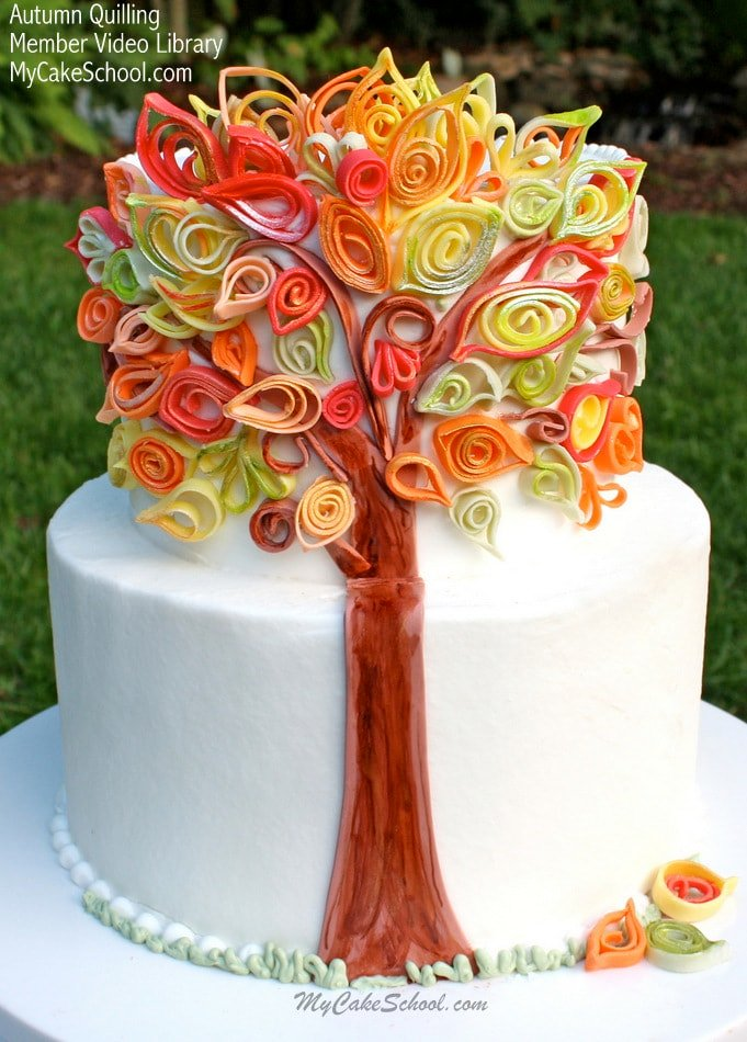 Cake Decorating Fall Leaves : Quilling with Fondant Video~An Autumn Cake My Cake School