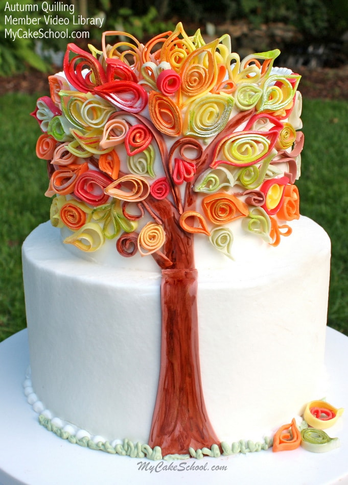 Quilling with Fondant Video~An Autumn Cake | My Cake School
