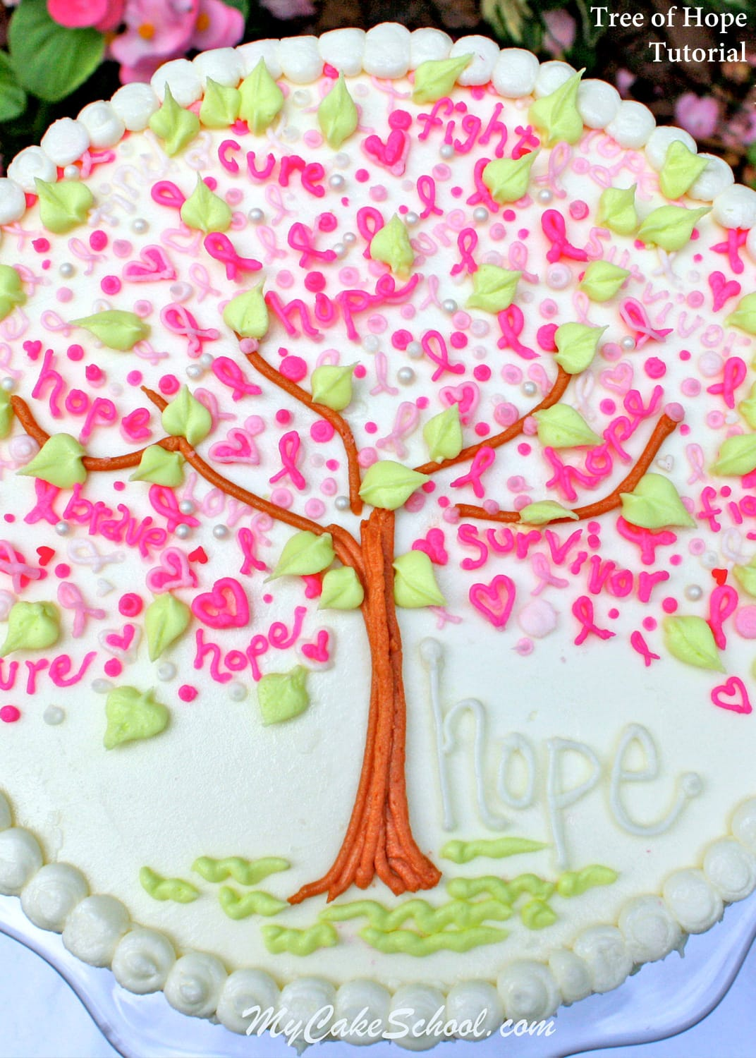 """Tree of Hope"" Cake Tutorial by MyCakeSchool.com"