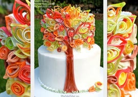 Gorgeous Fall Cake featuring fondant quilling! Member Cake Video Tutorial by MyCakeSchool.com!