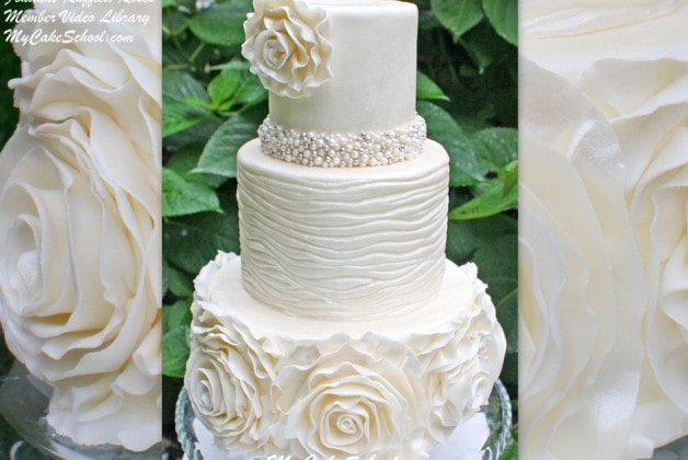 Fondant Ruffled Roses~ Member Video Library~ MyCakeSchool.com