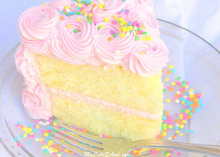 Amazing White Almond Sour Cream Cake Recipe from Scratch! Super moist and delicious! My Cake School Cake Recipes, Cake Tutorials, and More!
