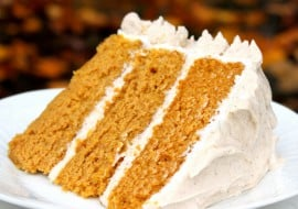 Everyone loves this super moist and flavorful Pumpkin Spice Cake with Spiced Cream Cheese Frosting! MyCakeSchool.com.