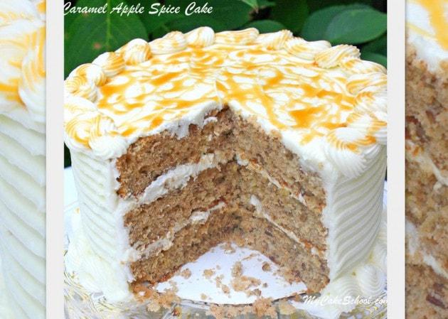 Moist and Delicious Caramel Apple Spice Cake! You will love this fantastic fall cake recipe! MyCakeSchool.com