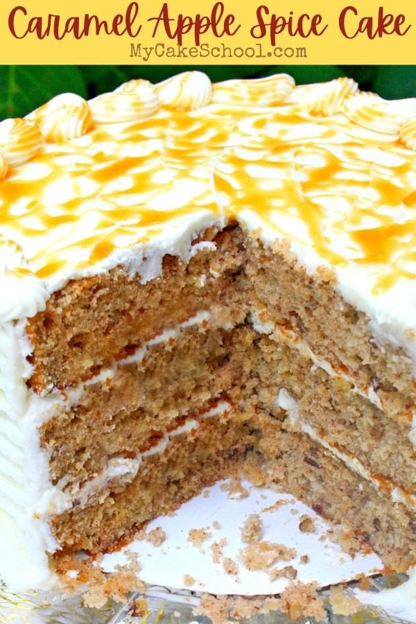 Caramel Apple Spice Cake- This moist and delicious layer cake has SO much flavor and is perfect for fall!