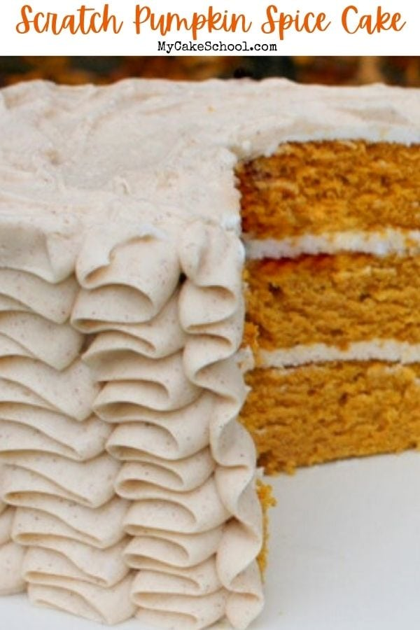 This scratch Pumpkin Spice Cake is the BEST! So moist and flavorful- keep it in mind for your fall birthdays, Thanksgiving, and special occasions!