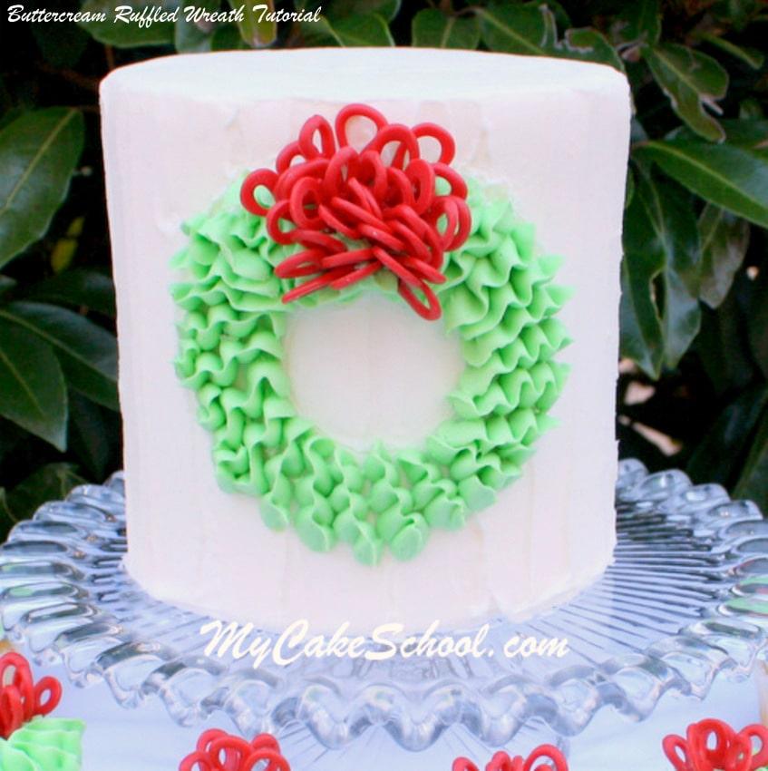 CUTE Buttercream Ruffled Wreath Tutorial by MyCakeSchool.com! Free Cake Decorating Tutorial!