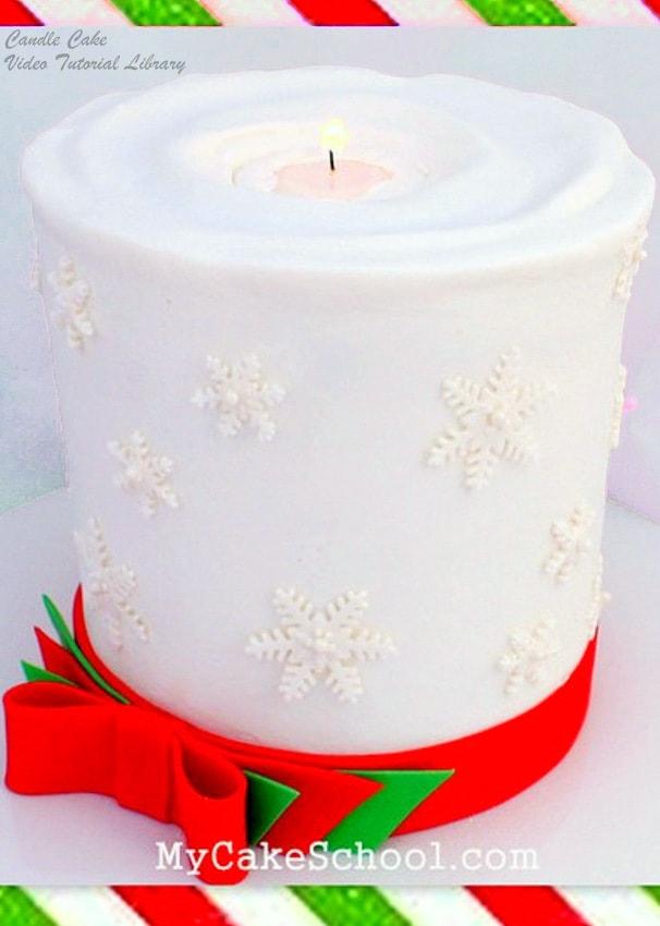 Festive Candle Cake Video by MyCakeSchool.com! Online cake tutorials, cake recipes, and more!