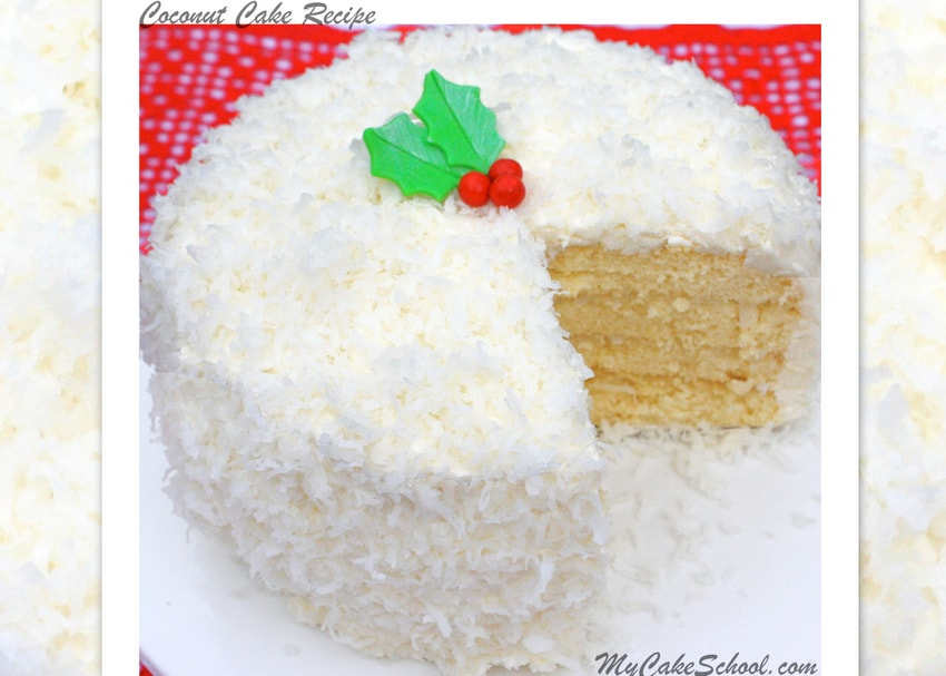 Coconut Cake with Coconut Cream Cheese Frosting! Recipe by MyCakeSchool.com