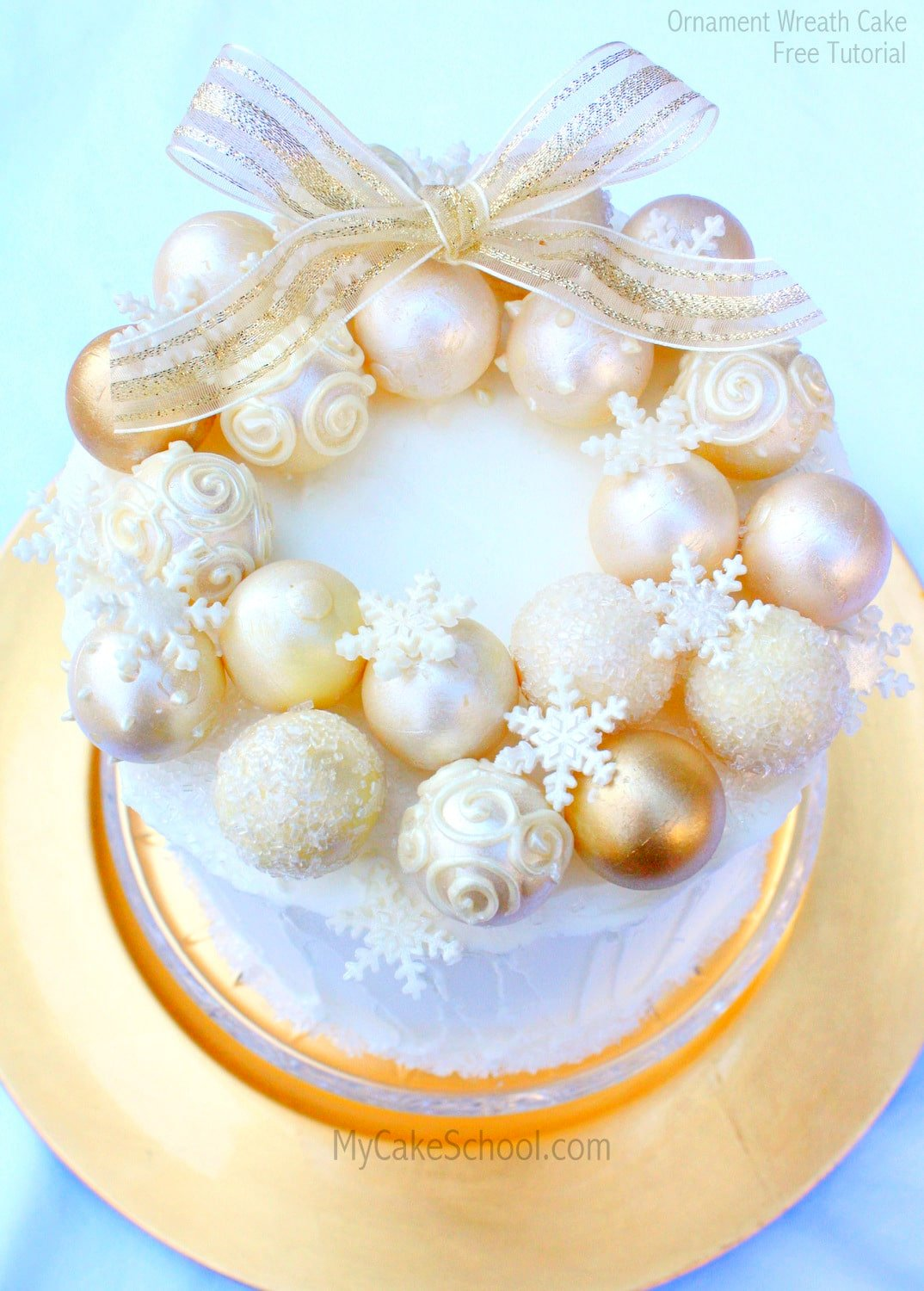 Elegant Ornament Wreath Cake- Free Tutorial by MyCakeSchool.com!