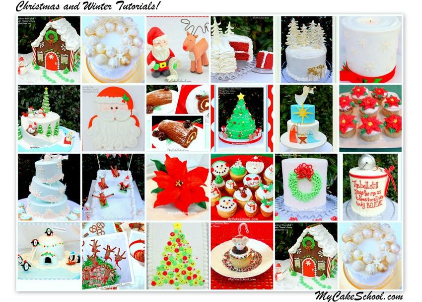 A fun and festive Roundup of Christmas and Winter Cake Tutorials, Recipes, and Inspiration! MyCakeSchool.com