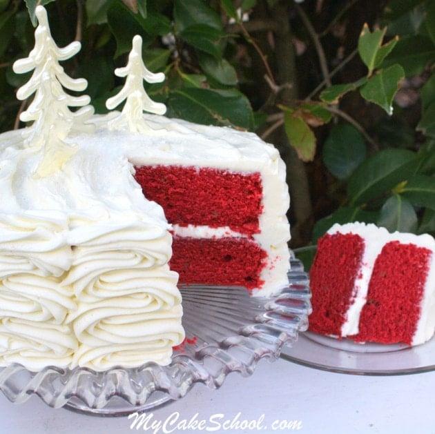 The most DELICIOUS scratch Red Velvet Cake Recipe! MyCakeSchool.com.