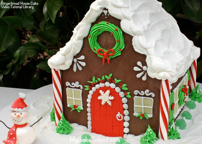 Adorable Gingerbread House Cake Video Tutorial by MyCakeSchool.com!