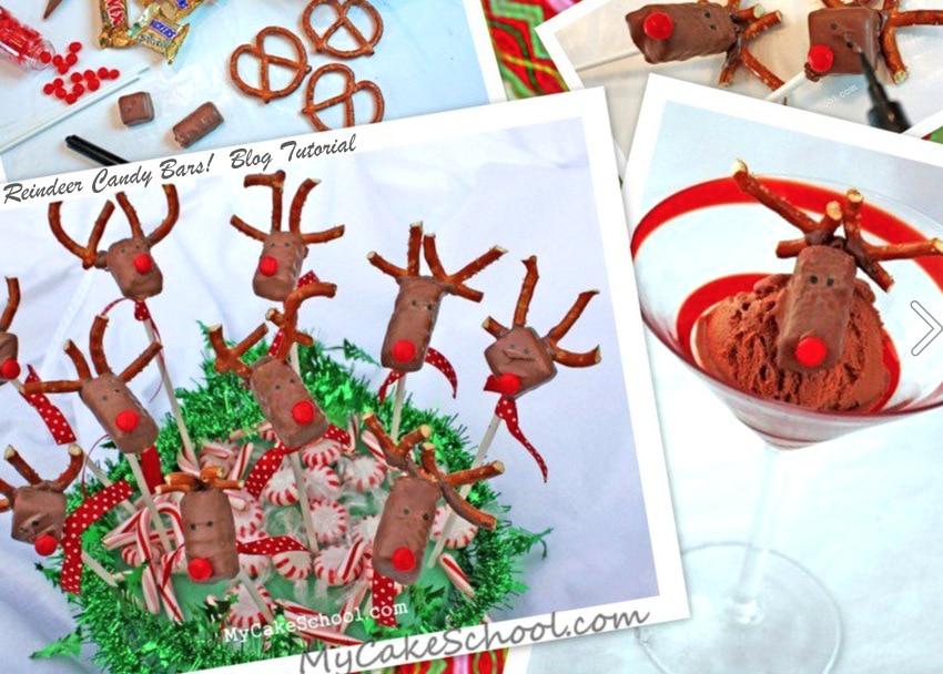 Candy Bar Reindeer! Free Tutorial by MyCakeSchool.com