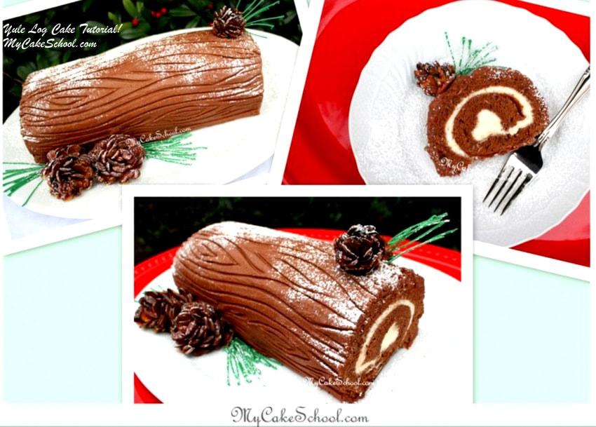 Yule Log Cake Tutorial by MyCakeSchool.com! Festive member cake video tutorial by MyCakeSchool.com!