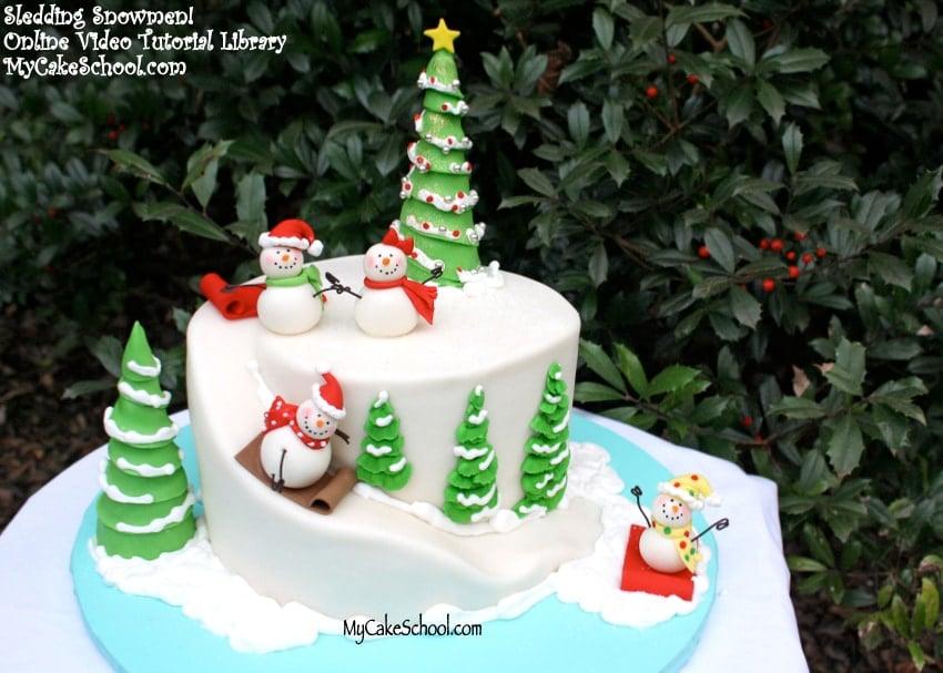 Sledding Snowman Cake by MyCakeSchool.com! Member cake video tutorial section.