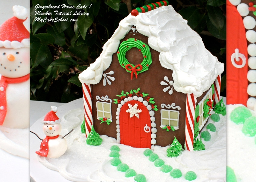 Gingerbread House Cake Tutorial by MyCakeSchool.com! So festive and fun!