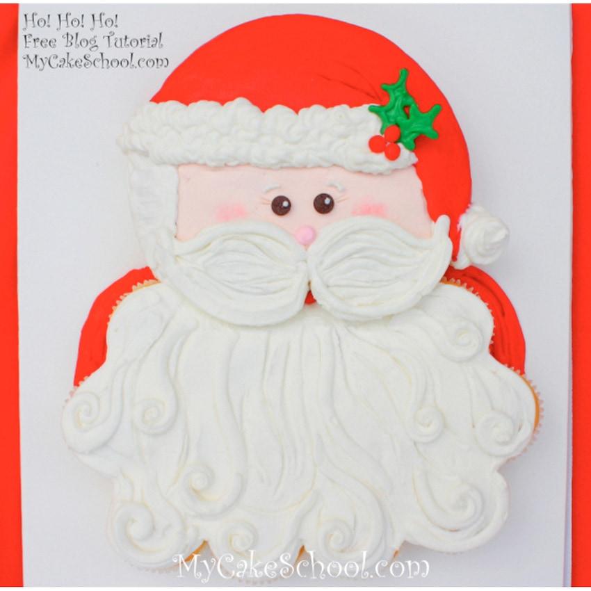 Free Santa Cupcake Cake Tutorial by MyCakeSchool.com. This festive buttercream cupcake design is the cutest!