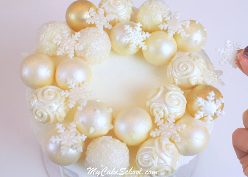 Gorgeous Ornament Wreath free Cake tutorial by MycakeSchool.com.