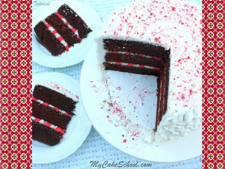 Chocolate Candy Cane Cake with Striped Filling!- Free Video