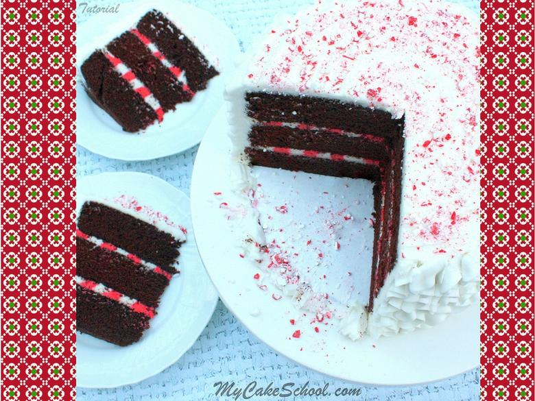 Festive Chocolate Candy Cane Cake- Free Video Tutorial by MyCakeSchool.com!