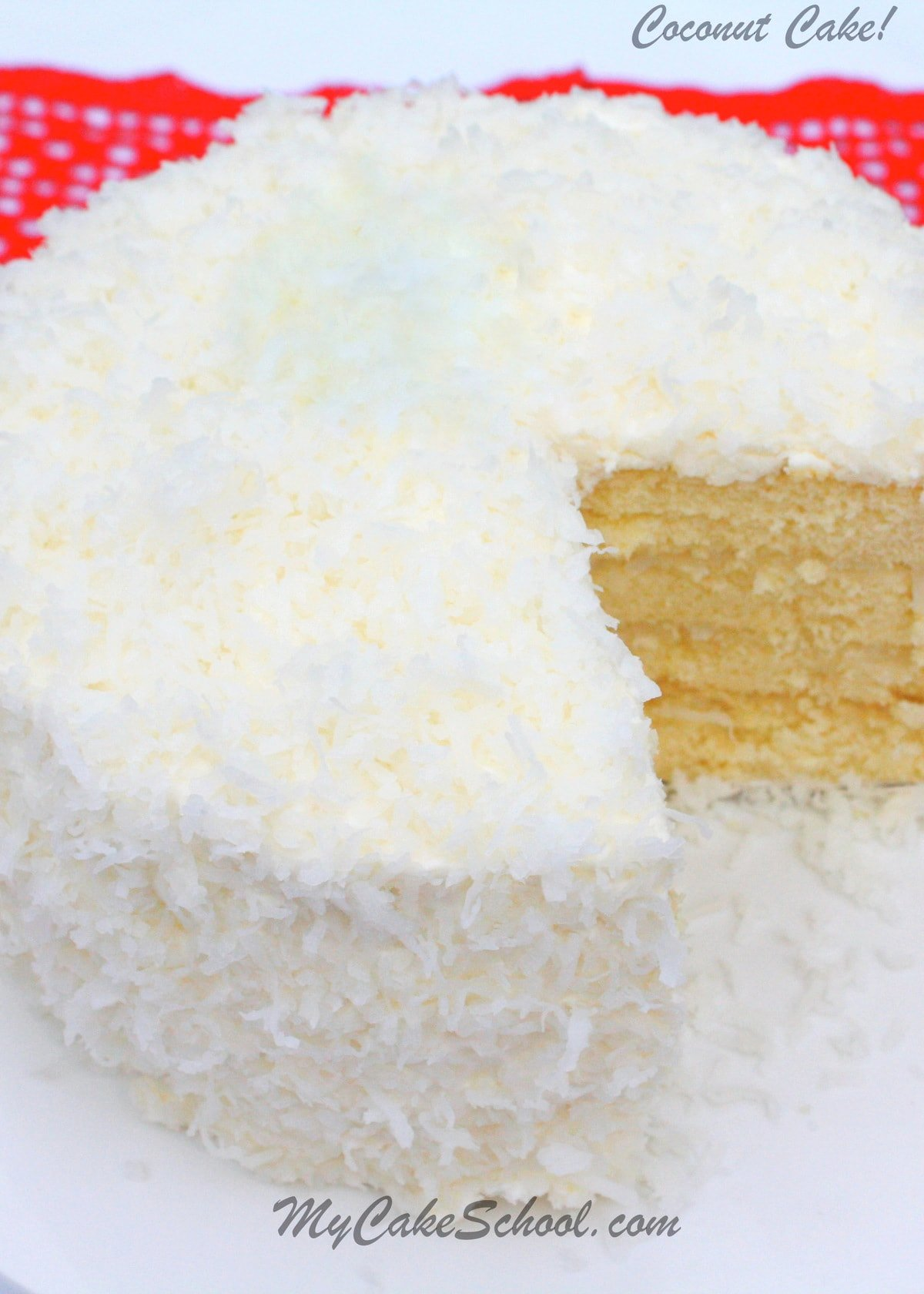 Delicious Coconut Cake Recipe from Scratch! Yellow cake with coconut filling and coconut cream cheese frosting! SO good!