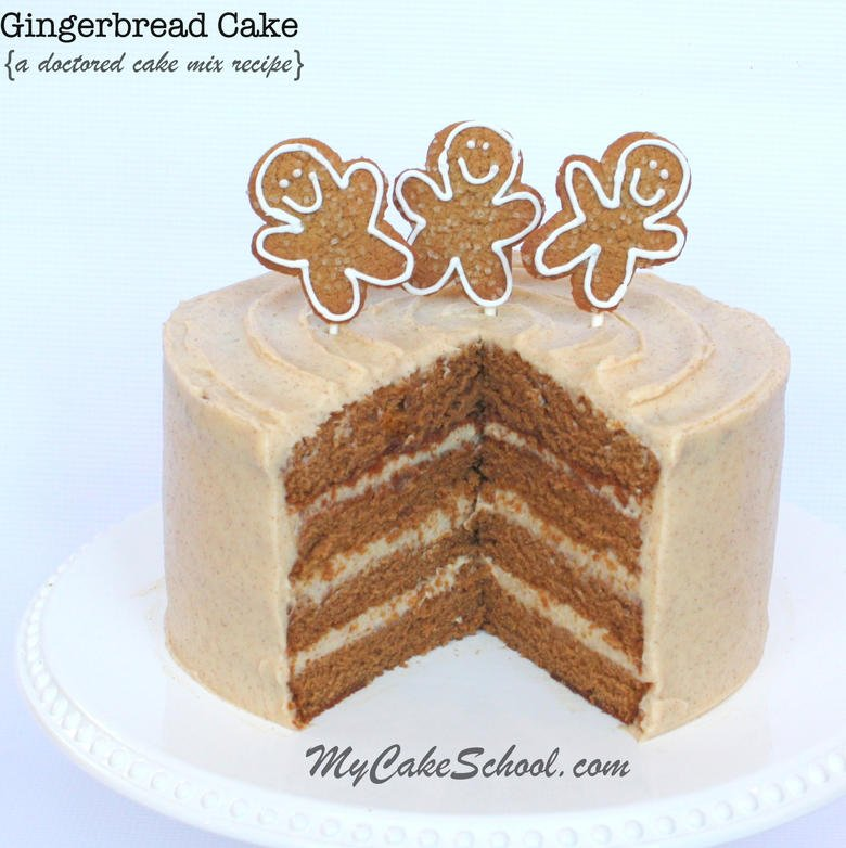 Delicious and simple Gingerbread Cake- Doctored Cake Mix Recipe by MyCakeSchool.com! SO good! Online cake tutorials, recipes, videos, and more!