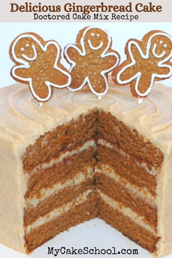 The BEST Gingerbread Cake- So easy and delicious! This is a doctored cake mix recipe.