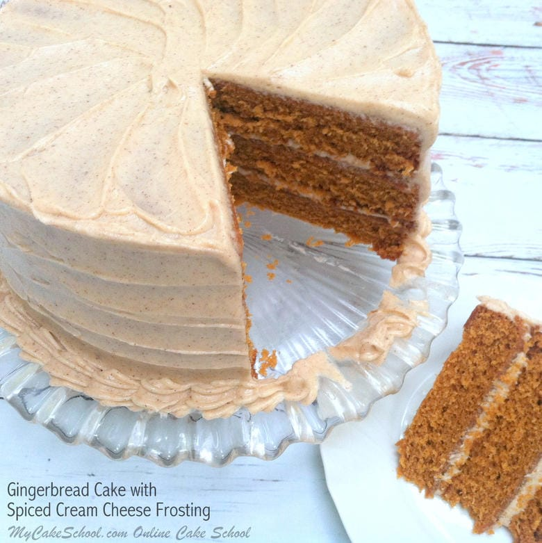 Amazing Gingerbread Cake from Scratch with Spiced Cream Cheese Frosting! Recipe by MyCakeSchool.com. Online cake tutorials, recipes, videos, and more!