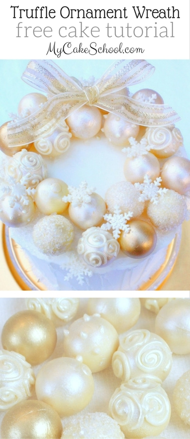 Elegant Ornament Wreath Cake- Free Tutorial by MyCakeSchool.com! This is so beautiful and simple to create! Perfect for Christmas Parties!