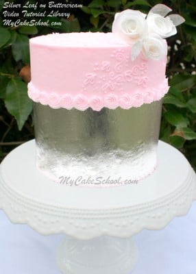 Learn to decorate with silver leaf in this MyCakeSchool.com video tutorial!