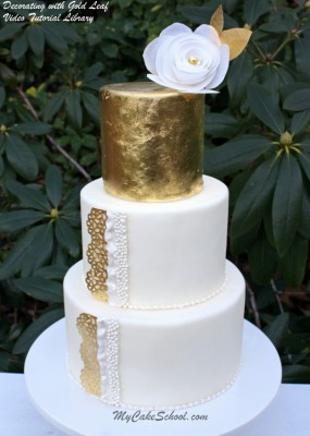 Beautiful Cake with Gold Leaf Accents from MyCakeSchool.com's tutorial on working with Gold Leaf! Member section, My Cake School.