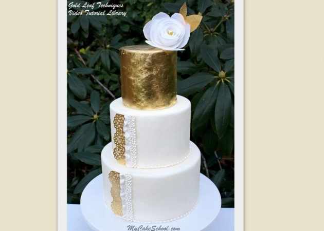 Decorating with Gold Leaf and Wafer Paper~Cake Decorating Video Tutorial