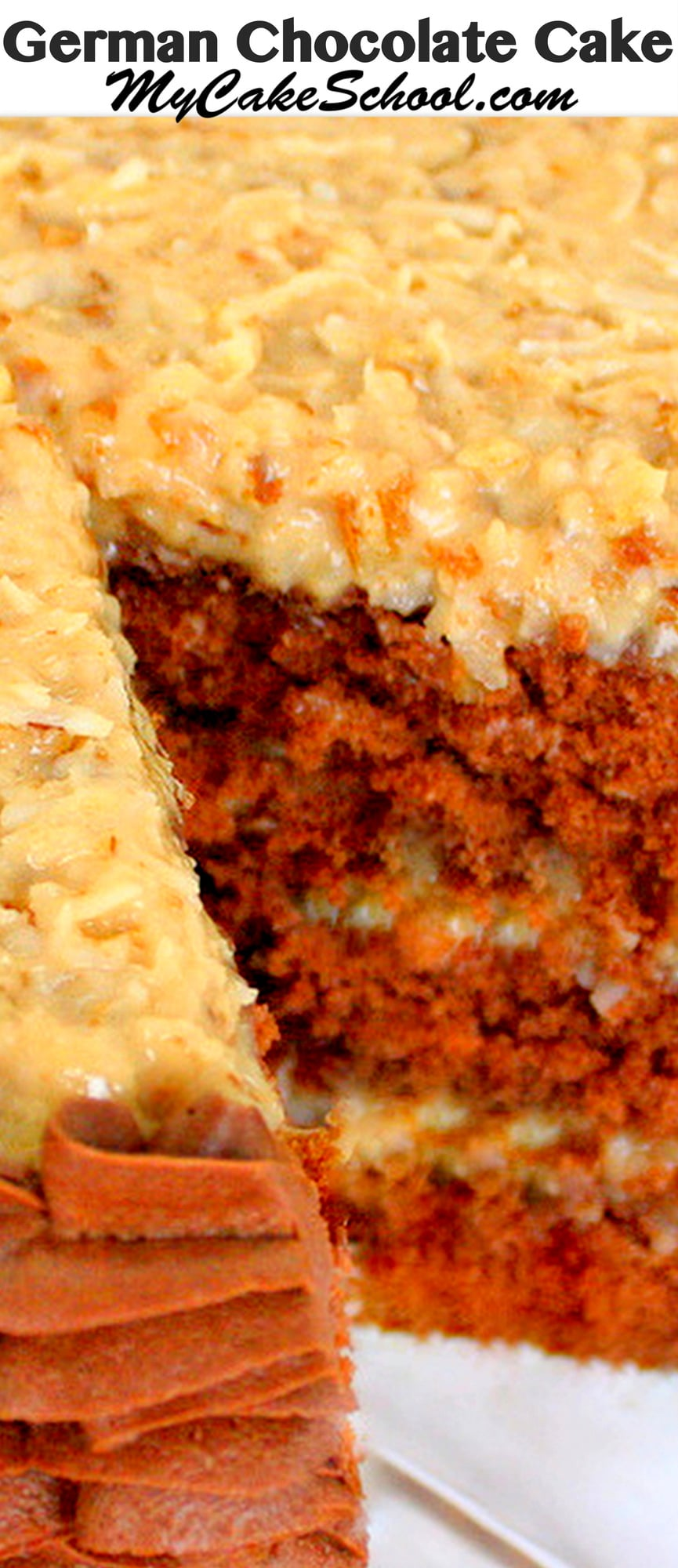 This homemade German Chocolate Cake recipe is AMAZING. Moist layers of German Chocolate Cake with a flavorful coconut pecan filling. There's nothing better!