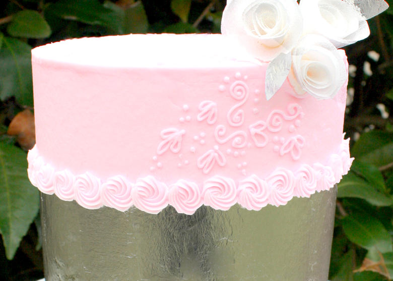Learn Cake Decorating with Silver Leaf on Buttercream! Online Cake Video Tutorial by MyCakeSchool.com!